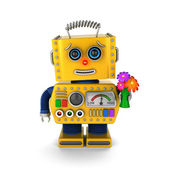 Cute vintage robot sending a get well wish — ストック写真