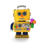 Aplogetic toy robot asking for forgiveness — Stock Photo