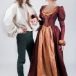 Beautiful pair of stylized medieval costumes — Stock Photo