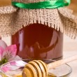 Sweet honey in jar with drizzler — Stok fotoğraf