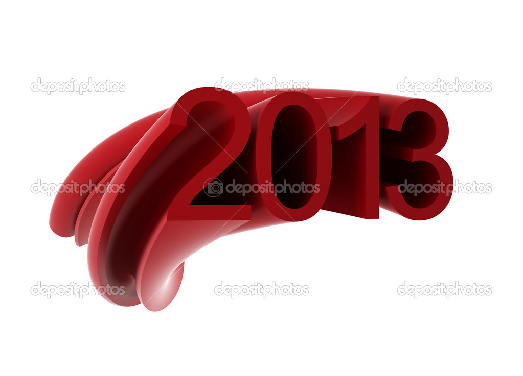 2013 text - 3d render on white  Stock Photo #15753545