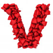 V letter made of little hearts — 图库照片