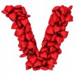Stock Photo: V letter made of little hearts