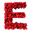 E letter made of little hearts — 图库照片