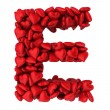 E letter made of little hearts — Stockfoto