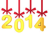 2014 new year concept. Numbers hanging on nice bows — Stock Photo