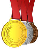 Medal with red ribbon — Zdjęcie stockowe