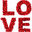 Foto Stock: LOVE sign made of little hearts