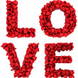 Stock Photo: LOVE sign made of little hearts