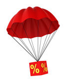 Parachute with a discount sign — Stock Photo