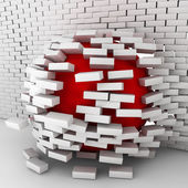 Red ball moving through brick wall — Stock Photo