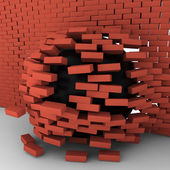 Black ball moving through brick wall — Stock Photo