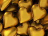 Many golden hearts — Stock Photo