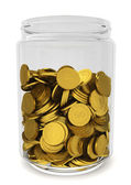 Glass jar with golden coins. Savings concept — Stock Photo