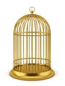 золотая птица клетка — Стоковое фото