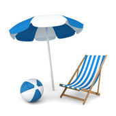 Beach umbrella, chair and ball — Stock Photo