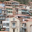 Wooden balconies in Tbilisi. - Stock Photo