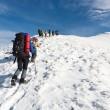 Wandern im Winter-Berg — Stockfoto