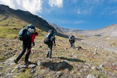 Hike in Kamchatka valley. — Stock Photo