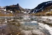 Frozen pond on Senja island. — Stock Photo
