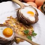 Eggs In Artichokes — Stock Photo