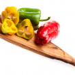 Chopping Board With Peppers — Stock Photo