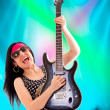 Stock Photo: Guitarist Woman In Concert