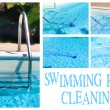 Swimming Pool Cleaning Collage — Stock Photo