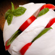 Closeup Of Mozzarella With Tomatoes And Basil — Stock Photo