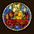 Stained Glass By Taddeo Gaddi - Elias On The Fiery Chariot — Stock Photo