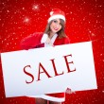 Santa Claus Woman With Sale Billboard — Stock Photo