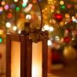 Christmas Lantern With Magic Warm Lights In The Background — Stock Photo