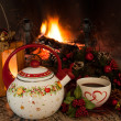 Tea Time In Front Of The Fireplace — Stock Photo