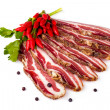 Spicy Smoked Bacon Sliced — Stock Photo