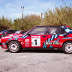 Постер, плакат: Red Lancia Delta HF Integral Martini Racing