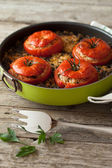 Rice Chard Baked Tomatoes — Stock Photo