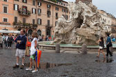Four Rivers Fountain Navona Square — Stock Photo