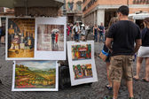 Paintings Navona Square — Stock Photo