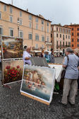 Paintings Seller — Stock Photo