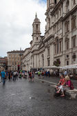Couple On Bench In Piazza Navona — Stock Photo