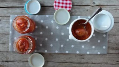 Apricots Marmalade Jars — Stock Video