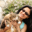 Beautiful smiling brunette Woman With Maine Coon Cat — Stock Photo