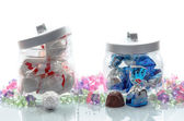 Jars of luxury Christmas chocolates — Stock Photo