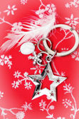 Silver star and white feather — Stock Photo