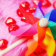 Stock Photo: Colourful toy pinwheel with hearts