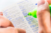 Highlighting the Ethic word on a dictionary — Stock Photo