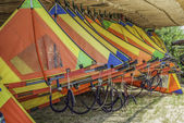 Colourful windsurfing sails — Stock Photo