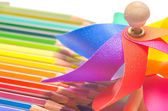Colourful pinwheel with coloured pencils — Stock Photo