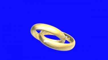 Wedding rings in gold, blue-screen — Stock Video