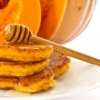Pumpkin pancakes with honey — Stock Photo #12623562